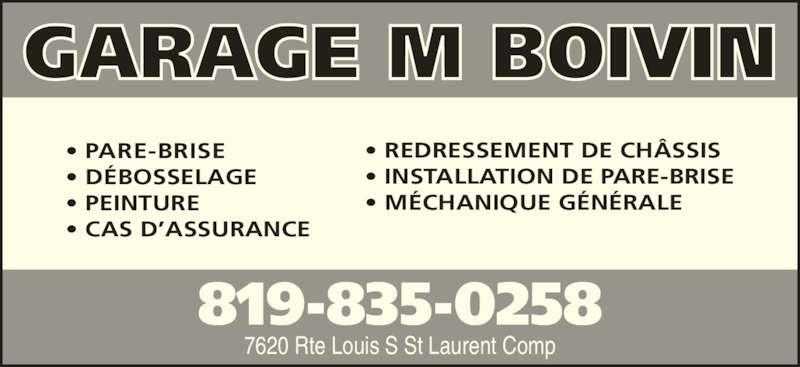 Garage m boivin compton qc 7620 rte louis s st for Garage ad st laurent de la plaine