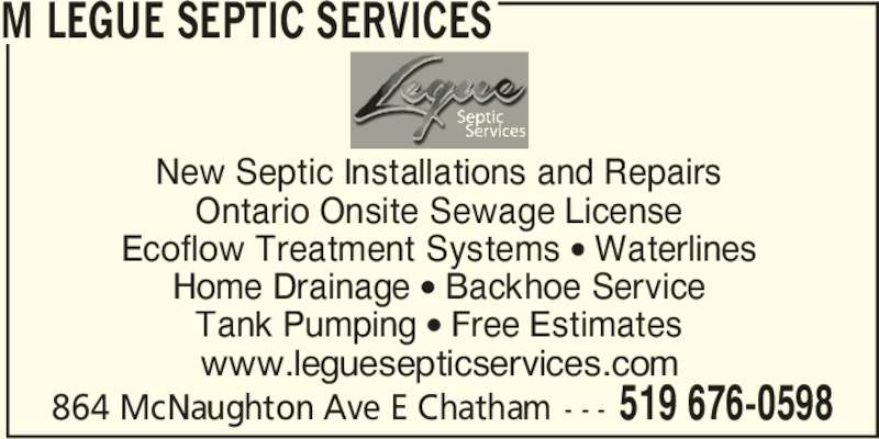 M Legue Septic Services Opening Hours 864 Mcnaughton