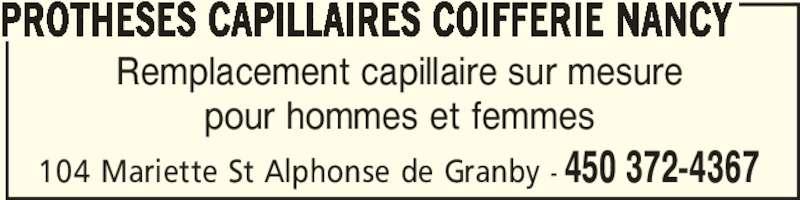 Prothèses Capillaires Coifferie Nancy (450-372-4367) - Annonce illustrée======= -