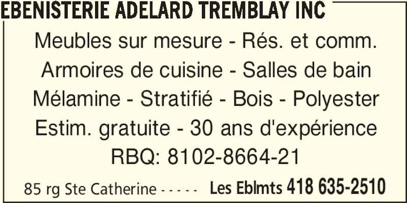 B nisterie ad lard tremblay inc les boulements qc for Meubles detaillants montreal