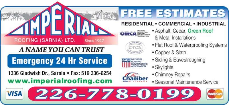 Imperial Roofing Sarnia Ltd 313 Gladwish Dr Sarnia On