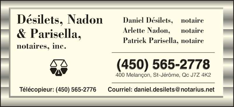 D silets nadon parisella et ouellet notaires 400 rue - Bureau des hypotheques de paris ...
