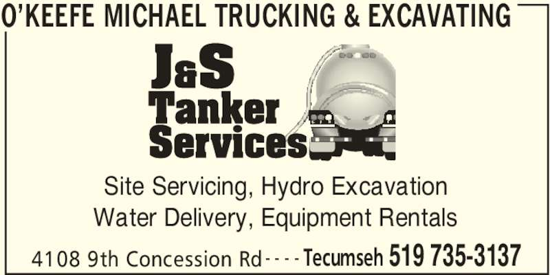 O'Keefe Michael Trucking & Excavating (519-735-3137) - Annonce illustrée======= -