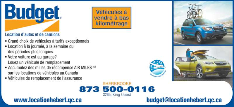 Budget location d 39 autos et de camions 4232 boul bourque for Garage les milles