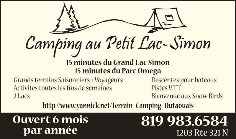 Camping au Petit Lac Simon (819-983-6584) - Annonce illustrée======= -