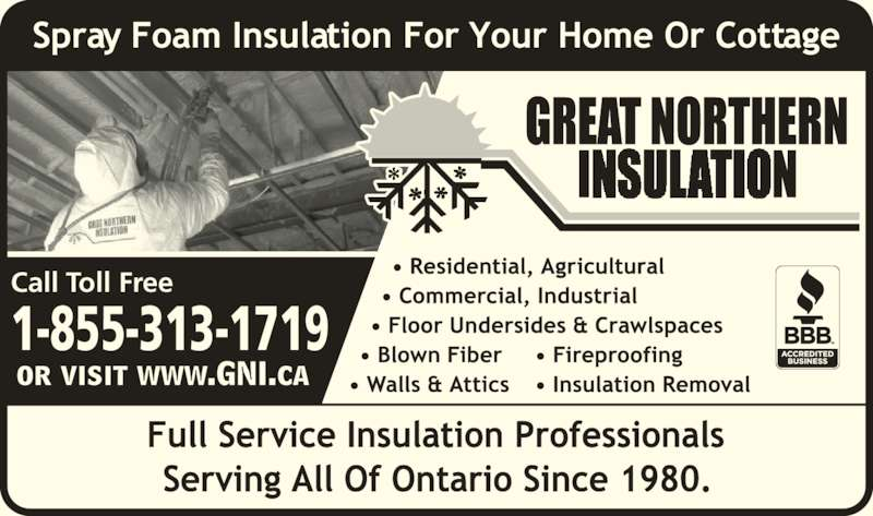 Great Northern Insulation (1-855-412-2603) - Display Ad - 1-855-313-1719 Call Toll Free