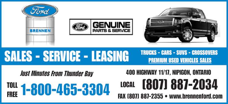 A D Brennen Motor Sales Opening Hours Highway 17 Nipigon On