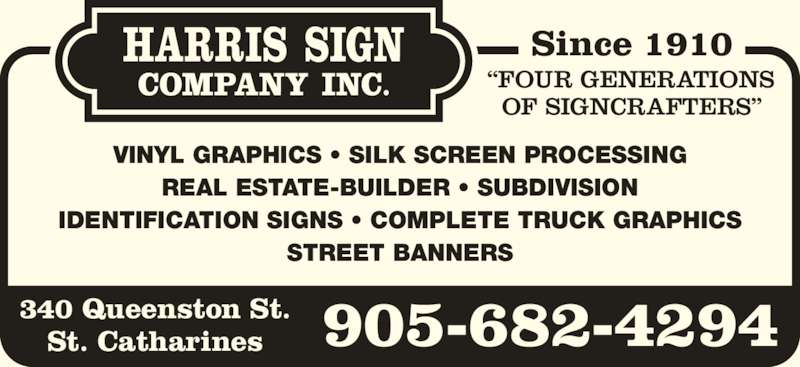 Harris Sign Co 340 Queenston St St Catharines On
