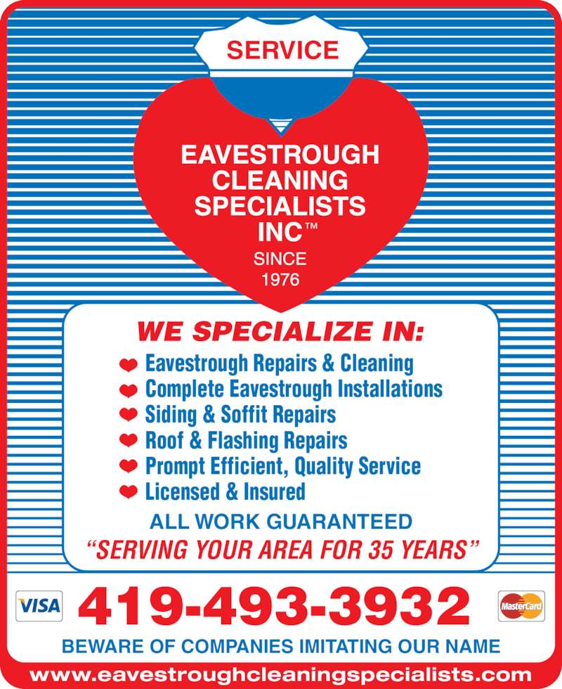 Eavestrough Cleaning Specialists Inc Opening Hours 501