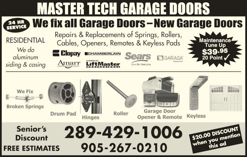 Master Tech Garage Doors Opening Hours Mississauga