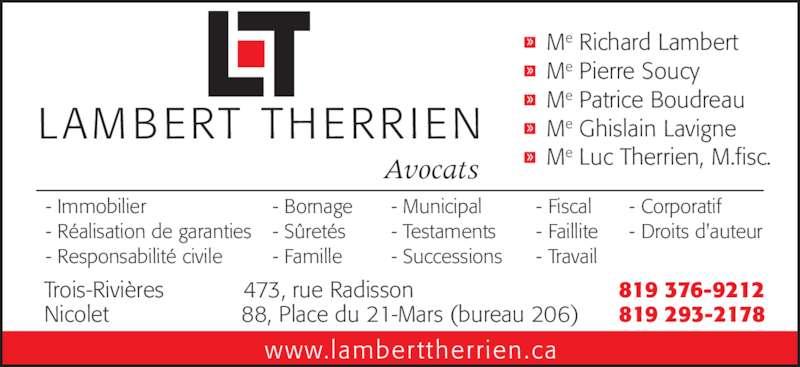Lambert Therrien Avocats - 473 rue Radisson, Trois ...