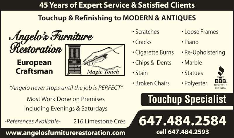 Angelo s furniture restoration 416 248 2604 display ad craftsman