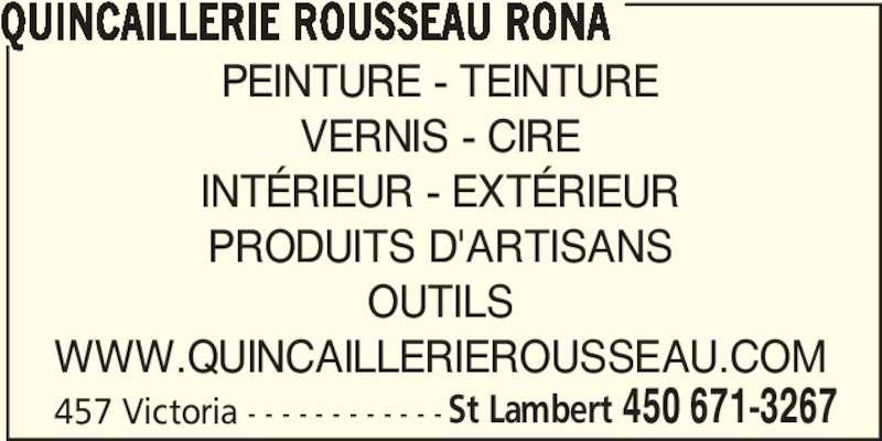 Rona Quincaillerie (450-671-3267) - Annonce illustrée======= -