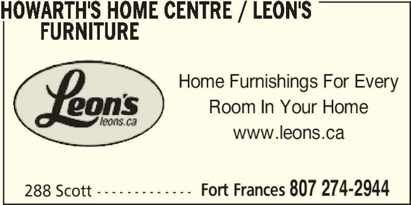 Leon's Furniture (807-274-2944) - Annonce illustrée======= -