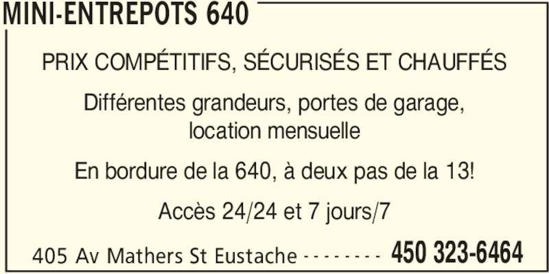 Mini entrep ts 640 st eustache qc 405 av mathers for Garage ad st laurent de la plaine