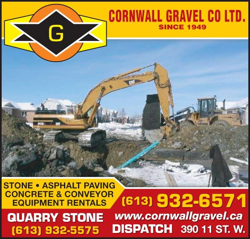 Cornwall Gravel Co Ltd (613-932-6571) - Annonce illustrée======= -