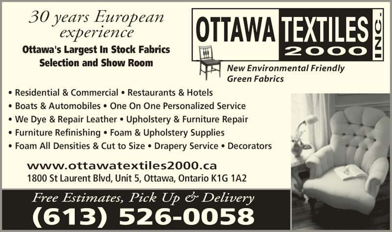 Ottawa textiles inc opening hours st laurent blvd on