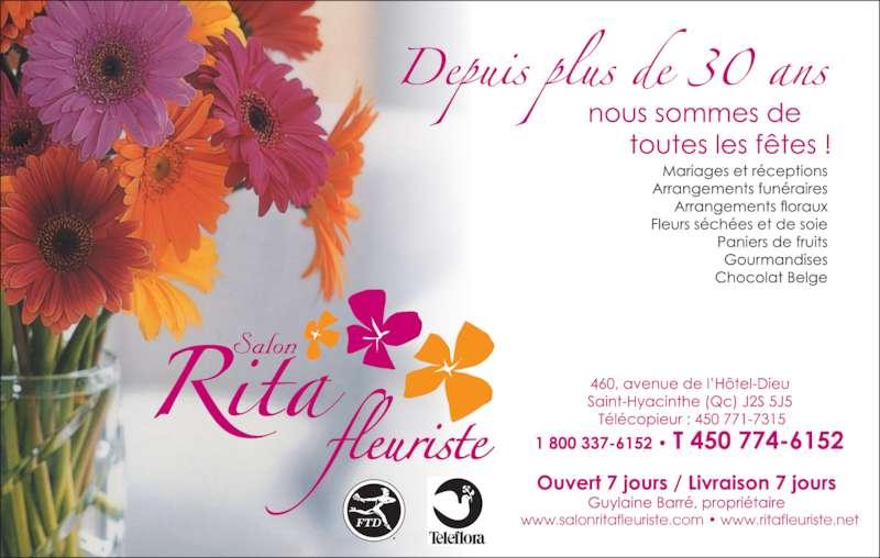 Rita Fleuriste (450-774-6152) - Annonce illustrée======= - www.salonritafleuriste.com • www.ritafleuriste.net