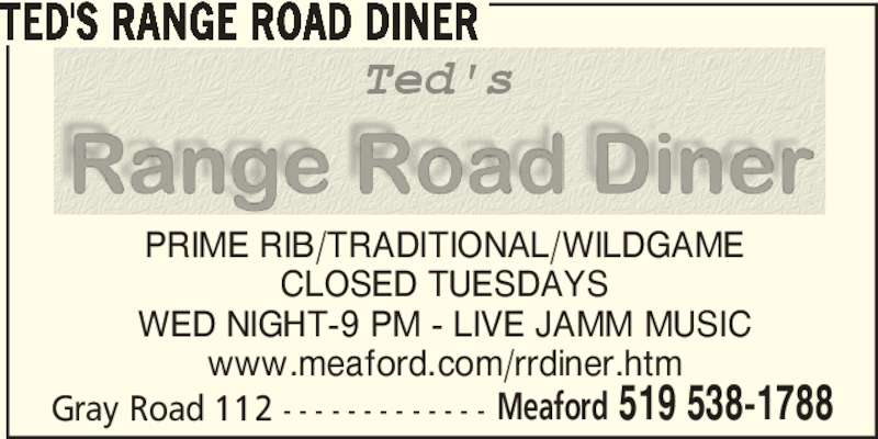 Range Road Diner (519-538-1788) - Display Ad -