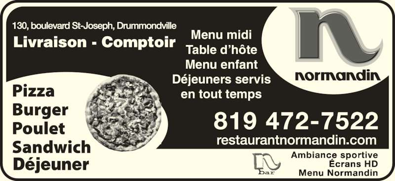 restaurant normandin horaire d 39 ouverture 130 boul. Black Bedroom Furniture Sets. Home Design Ideas