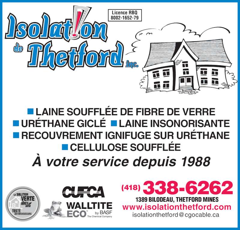 isolation de thetford inc 1389 rue bilodeau thetford mines qc. Black Bedroom Furniture Sets. Home Design Ideas