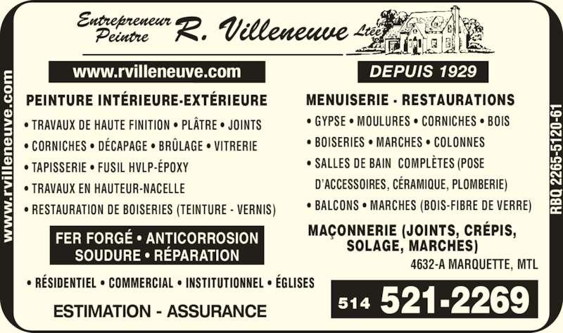Entrepreneur Peintre R Villeneuve Ltée (Depuis 1929) (514-521-2269) - Annonce illustrée======= -