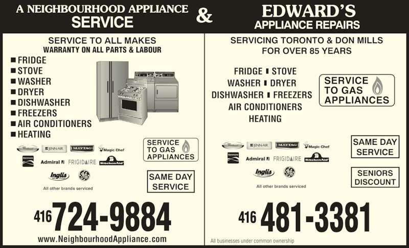 A Neighbourhood Appliance Service Opening Hours 342
