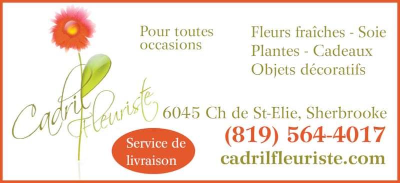 Cadril Fleuriste Enr (819-564-4017) - Annonce illustrée======= - Pour toutes occasions cadrilfleuriste.com 6045 Ch de St-Elie, Sherbrooke (819) 564-4017 Fleurs fraîches - Soie Plantes - Cadeaux Objets décoratifs Service de livraison