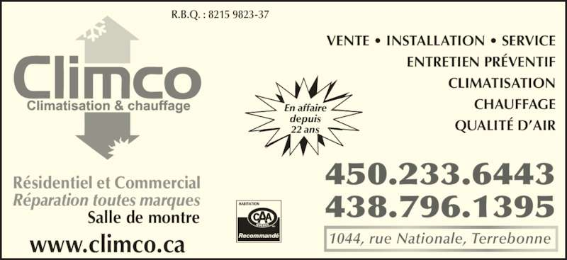 climco climatisation et chauffage inc terrebonne qc 1044 rue nationale canpages fr. Black Bedroom Furniture Sets. Home Design Ideas