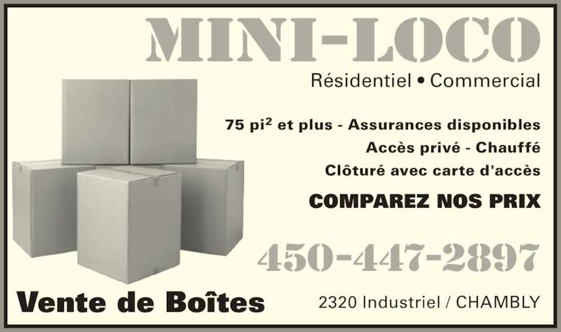 Mini loco horaire d 39 ouverture 2320 boul industriel for Boite a couture chambly