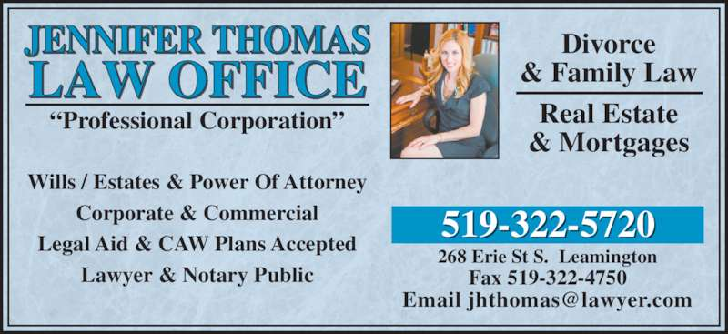 Thomas jennifer lawyer notary opening hours 268 erie st s leamington on - Family office real estate ...