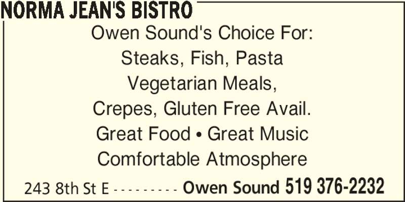 Norma Jean's Bistro (519-376-2232) - Display Ad -