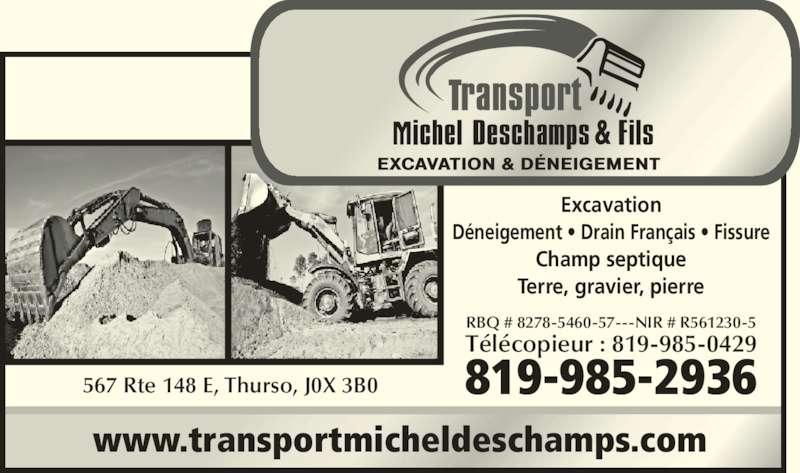 Transport Michel Deschamps et Fils (819-985-2936) - Annonce illustrée======= -