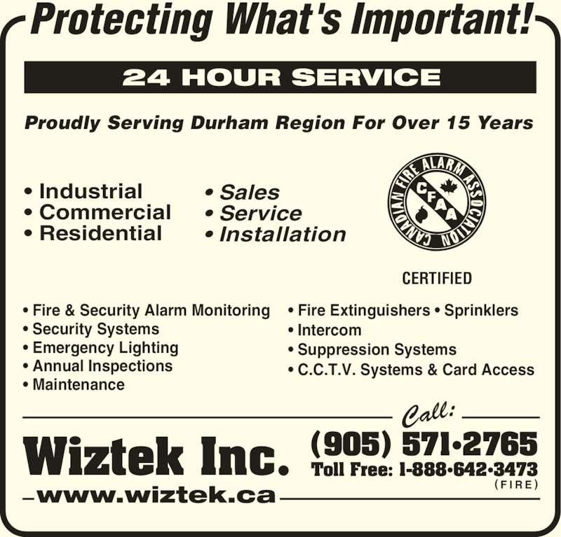 Toll Free: 1-888•642•3473 ( F I R E ) Wiztek Inc. • Industrial ...