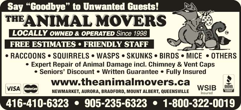 The Animal Movers (416-410-6323) - Annonce illustrée======= -