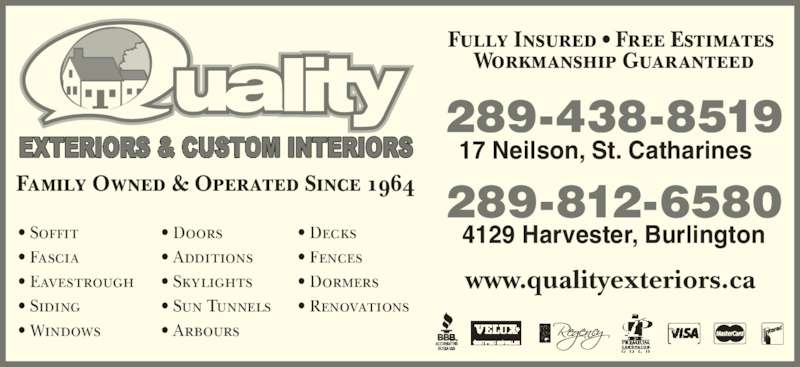 Quality Exterior Systems St Catharines On 17b Neilson Ave Canpages