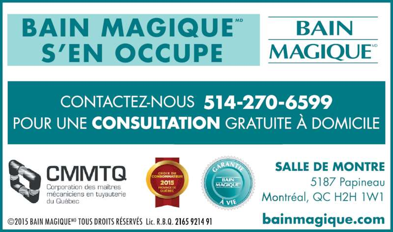 Bain Magique (514-270-6599) - Annonce illustrée======= - BAIN MAGIQUEMD S'EN OCCUPE