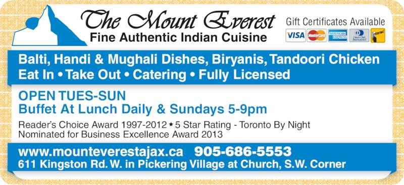 Mount Everest Restaurant Pickering Menu