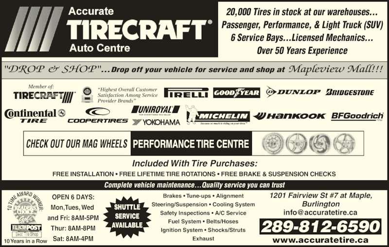 Tirecraft Opening Hours 7 1201 Fairview St Burlington On