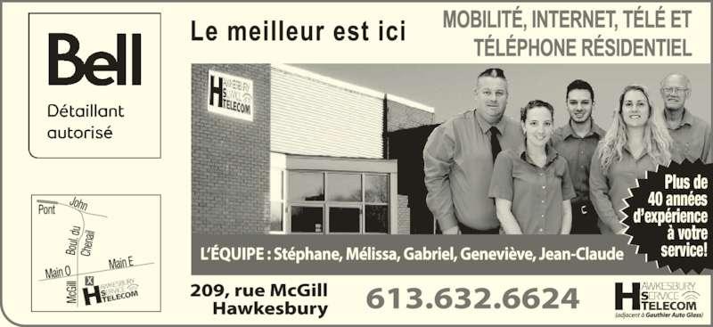 Hawkesbury Serv Telecom-Bell Authorized Retailer (613-632-6624) - Display Ad - Plus de 40 années d'expérience à votre service!