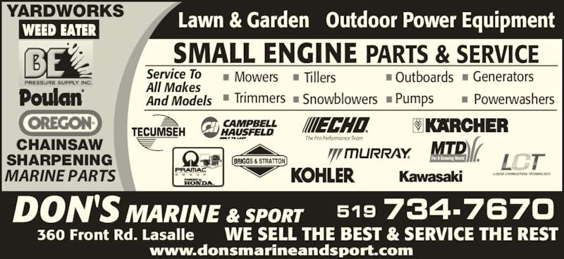 Don 39 s marine opening hours lwr 360 front rd windsor on for Small outboard motor repair near me