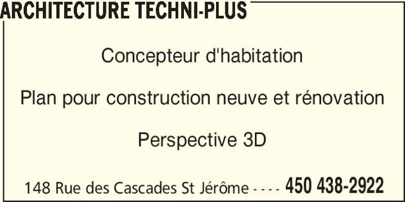Architecture techni plus 148 rue des cascades saint j r me qc - Taxe habitation construction neuve ...