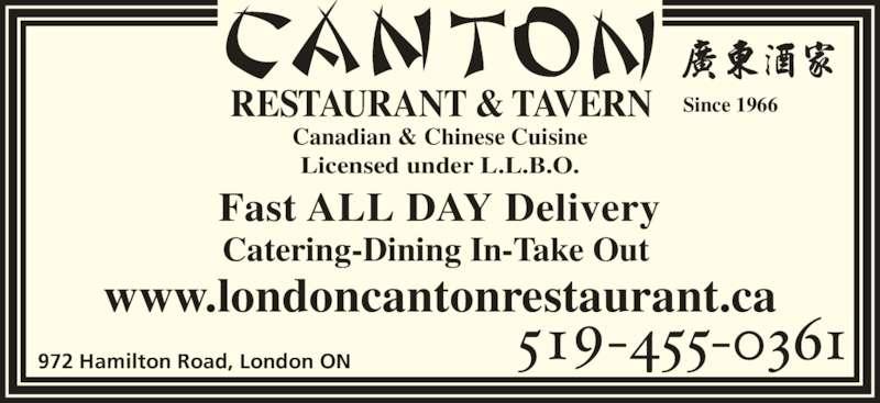 Canton Restaurant & Tavern (519-455-0361) - Display Ad -