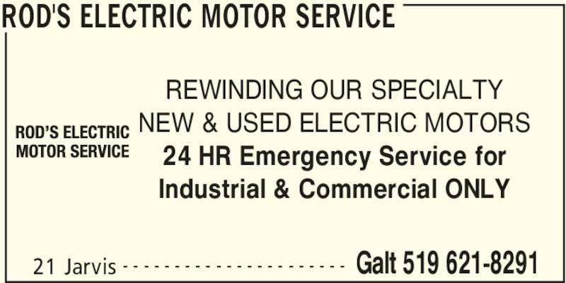 Rod 39 S Electric Motor Service Cambridge On 21 Jarvis
