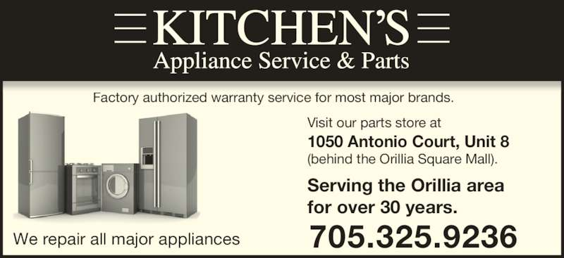 Kitchen 39 s appliance service 1050 antonio crt orillia on for Kitchen appliance services