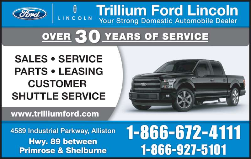 trillium ford lincoln ltd opening hours 4589 industrial parkway alliston on. Black Bedroom Furniture Sets. Home Design Ideas
