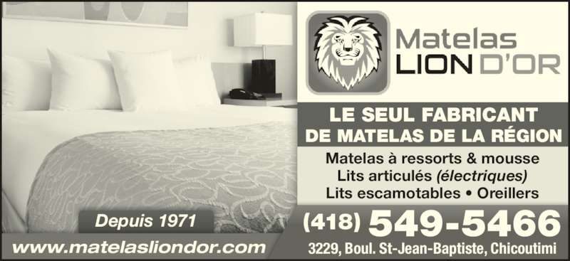 Matelas lion d 39 or chicoutimi qc 3229 boul saint jean for Meuble lion montreal