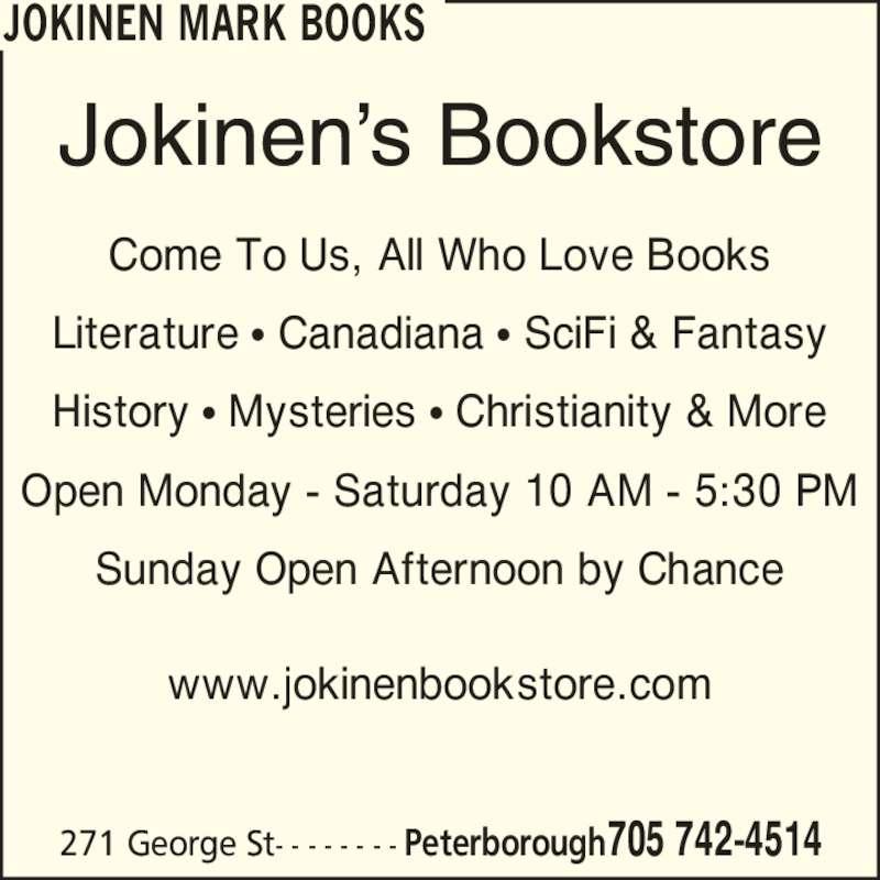 Jokinen Mark Books (705-742-4514) - Annonce illustrée======= -