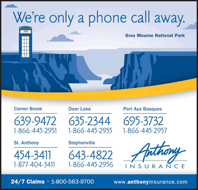Anthony Insurance Inc (709-639-9472) - Display Ad -
