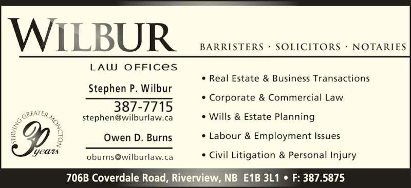 Wilbur Law Offices (506-387-7715) - Display Ad - Owen D. Burns